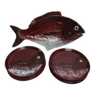 Mid-Century Fish Platter & Plates - Set of 11