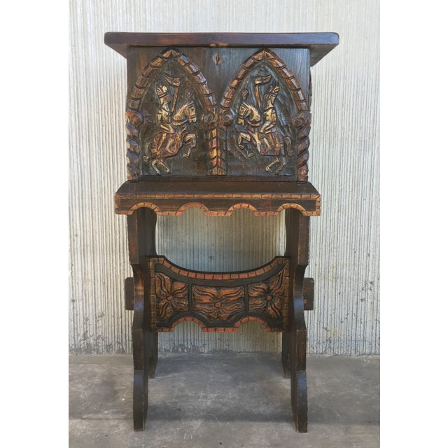 About 20th century cabinet bar on stand, Varqueno, Bargueño, buffet, Spain Impressive carved and polichromed cabinet bar...