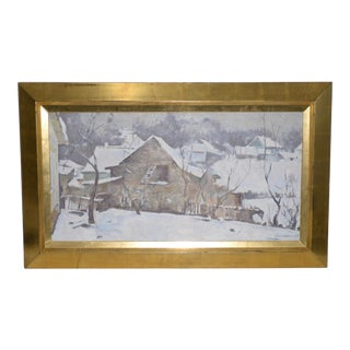 Emmanuil Abramovich Kaminski (B.1927) Winter Landscape W/ Barn Painting C.1970 For Sale