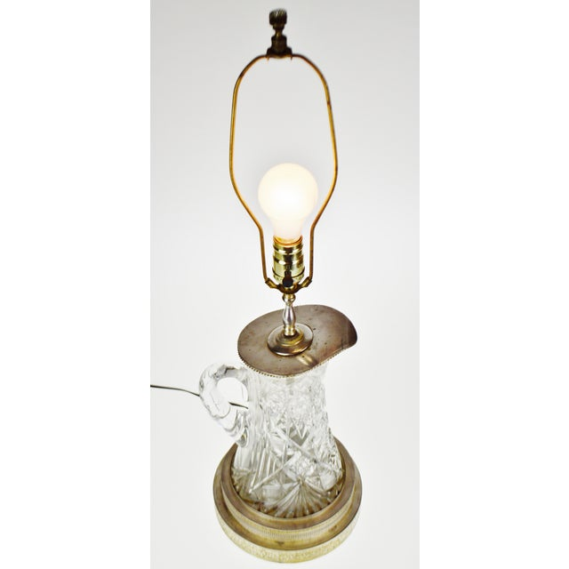 Victorian Style Cut Glass Pitcher Table Lamp Condition consistent with age and history. Patina was been maintained. Please...