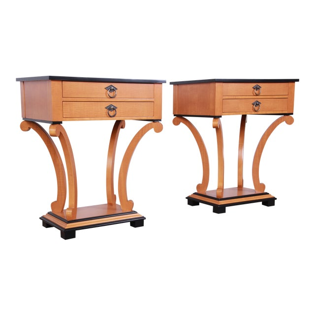 Baker Furniture Biedermeier Style Fully Restored Night Stands - a Pair For Sale
