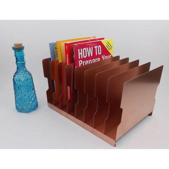 Gold Rose Gold Desk Organizer / Mail Sorter For Sale - Image 7 of 8