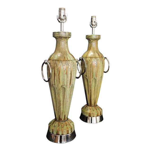Pair Ceramic Table Lamps - Fully Restored- Faux Marbleized Green Gold and Nickel Plated For Sale