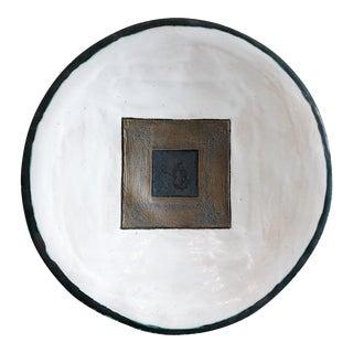 Vintage Glazed Terra Cotta Ceramic Studio Pottery Square Patterned Wall Art Charger For Sale