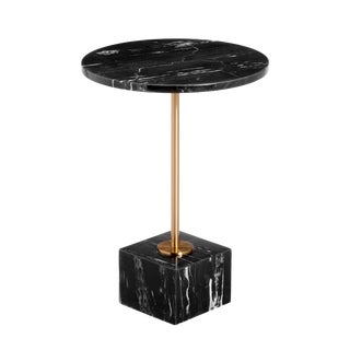 Interlude Home Rian Marble Side Table - Nero Storm For Sale