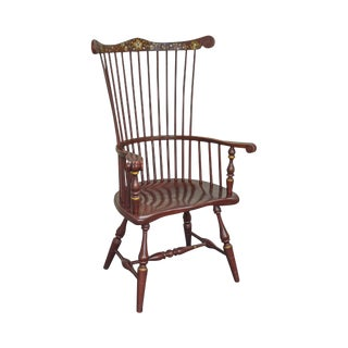 Ethan Allen Hitchcock Vintage Windsor Style Red Paint Decorated Arm Chair