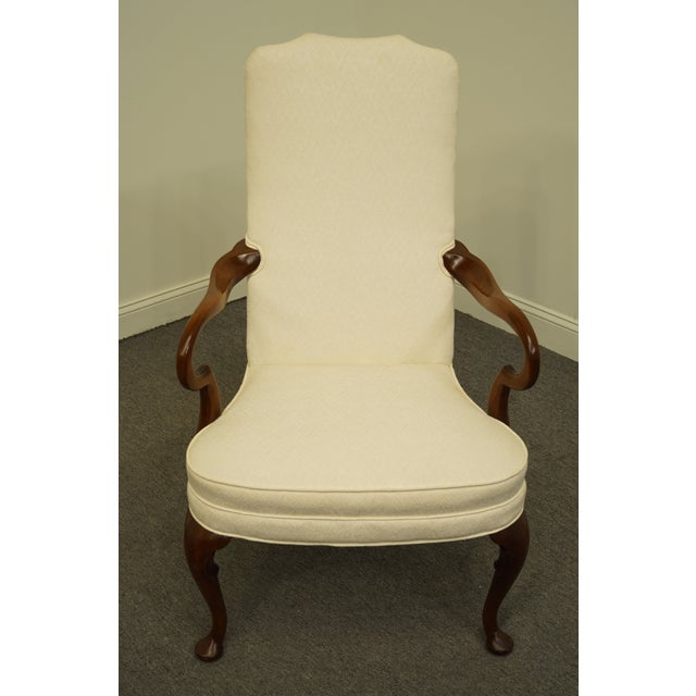 Queen Anne Late 20th Century Hickory Chair Solid Mahogany Queen Anne Style Upholstered Dining Arm Chair For Sale - Image 3 of 9