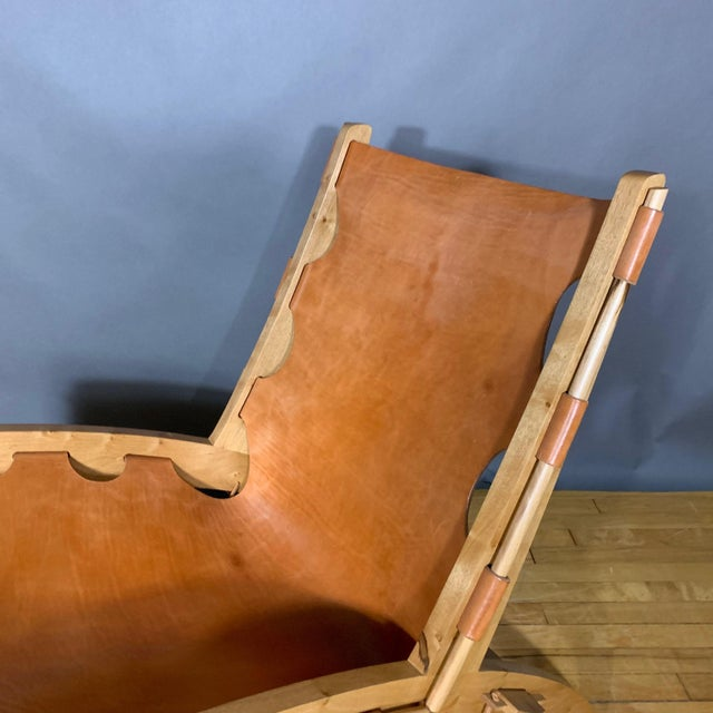 Dan Burstyn Quilpo Leather Sling Chair & Ottoman, Argentina For Sale - Image 10 of 13