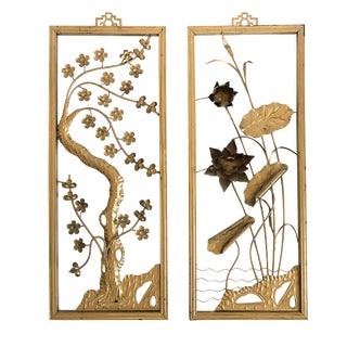 Asian Cherry Blossom and Lotus Flower Art Panels For Sale