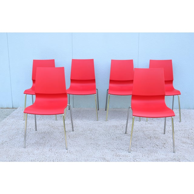 Italian Modern Marco Maran for Maxdesign Red Ricciolina Dining Chairs - Set of 6 For Sale - Image 13 of 13
