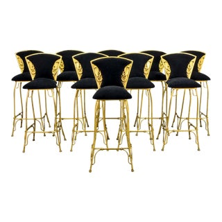 Mid-Century Italian Design Set of Gilded Forged Steel 'GOLD COBRA' Bar Stools, Set of Ten, 1970s
