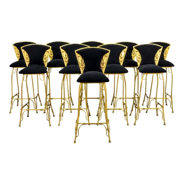Mid-Century Italian Design Set of Gilded Forged Steel 'GOLD COBRA' Bar Stools, Set of Ten, 1970s For Sale