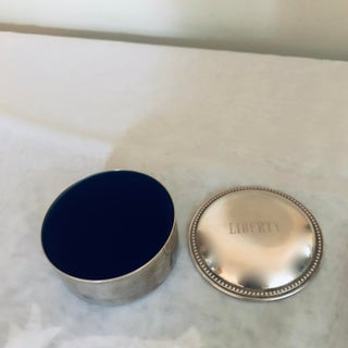 Vintage Sterling Silver Blue Velvet Lined Round Box Preview