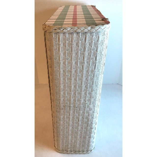 Mid 20th Century Cottage White Wicker Hanging 2 Tier Wall Shelf For Sale - Image 5 of 8