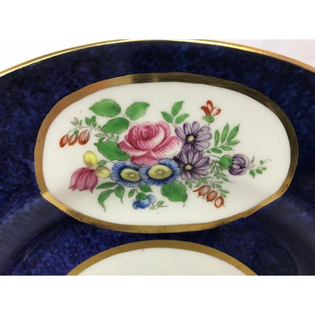 Early 20th Century Crown Staffordshire Cobalt Blue Hand Painted Flowers Dining Plates - Set of 12 For Sale - Image 5 of 7