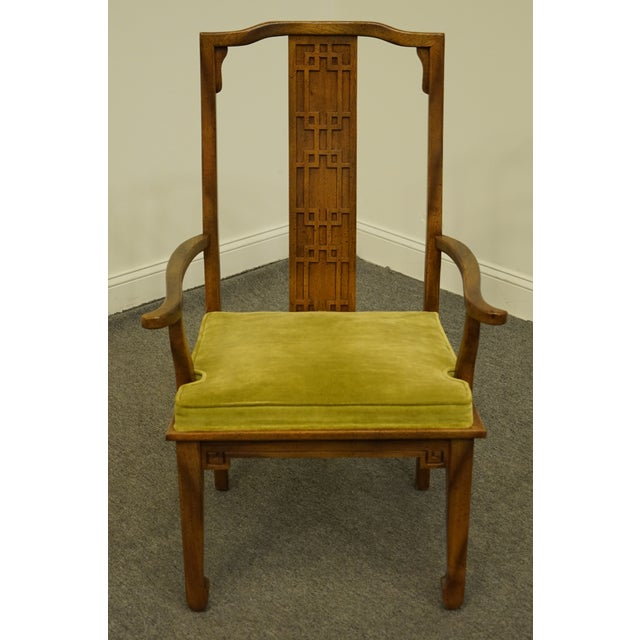 Asian Century Furniture Asian Inspired Chinoiserie Dining Arm Chair For Sale - Image 3 of 10