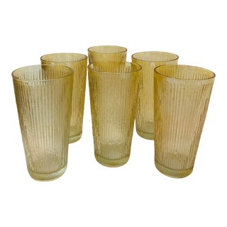 Vintage Mid Century Iridescent Gold Amber High Ball Tumbler Glasses - Set of 6 For Sale