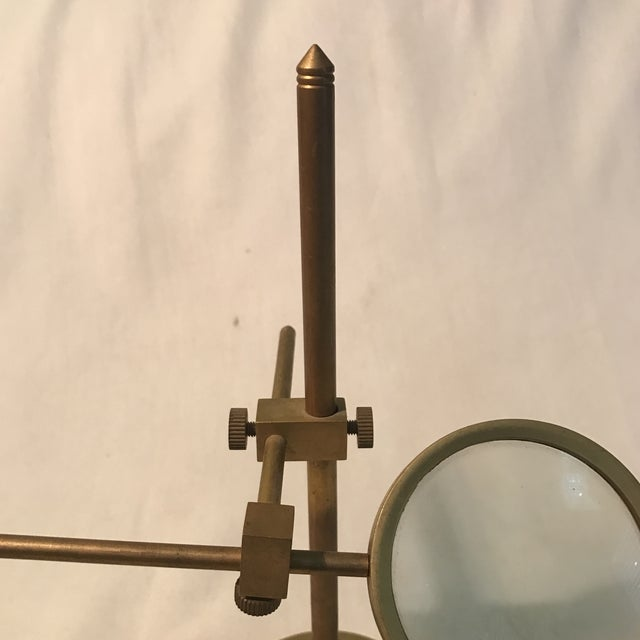 Industrial Vintage Magnifying Glass With Adjustable Brass Stand For Sale - Image 3 of 11