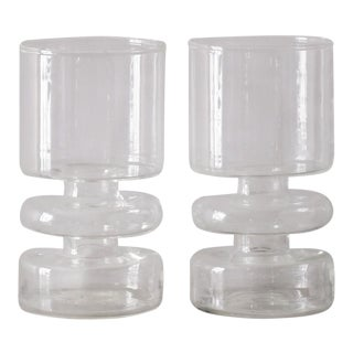 Blown Glass Candle Holders - a Pair For Sale