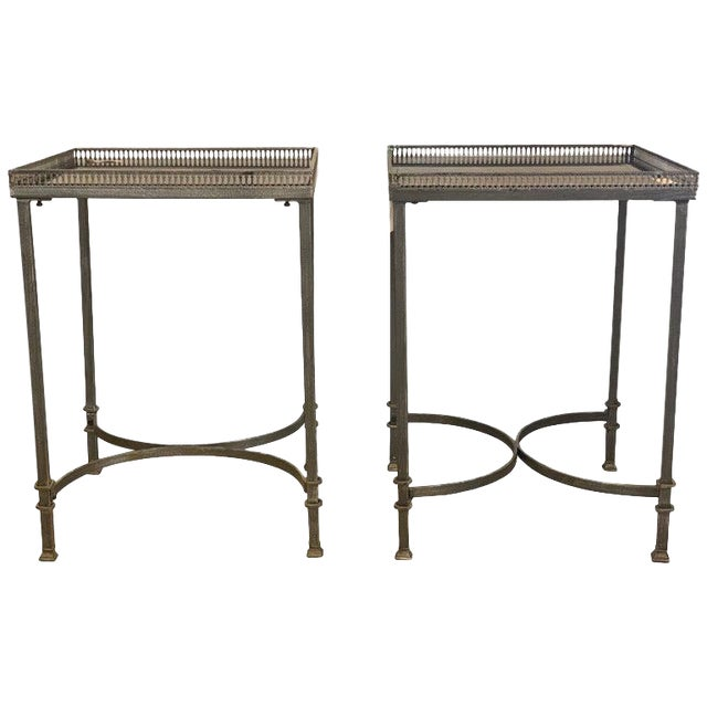 Mid-Century Modern Square Marble Top Silvered Side, Pedestal or End Tables, Pair For Sale