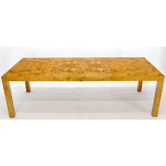 Rectangle Shape Burl Wood Dining Room Table with Two Extension Leaves Boards For Sale - Image 10 of 12