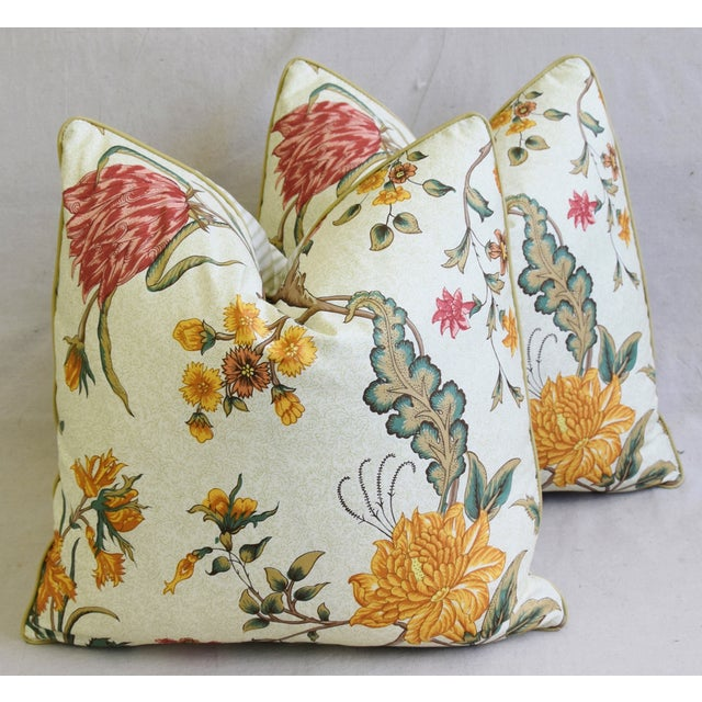 "Animal Skin Schumacher Arbre Fleuri Floral & Ticking Feather/Down Pillows 20"" Square - Pair For Sale - Image 7 of 13"