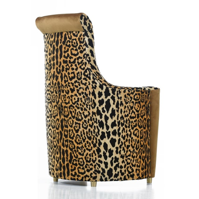 Scroll Headrest Neo Deco Velvet Leopard Print High Back Lounge Chairs For Sale In Tampa - Image 6 of 9