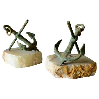 1970s Boho Chic Curtis Jere Bronze Anchor Bookends - a Pair For Sale