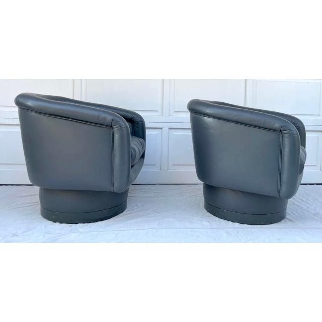 Vinyl Postmodern Leon Rosen Style Swivel Tub Chairs - a Pair For Sale - Image 7 of 13