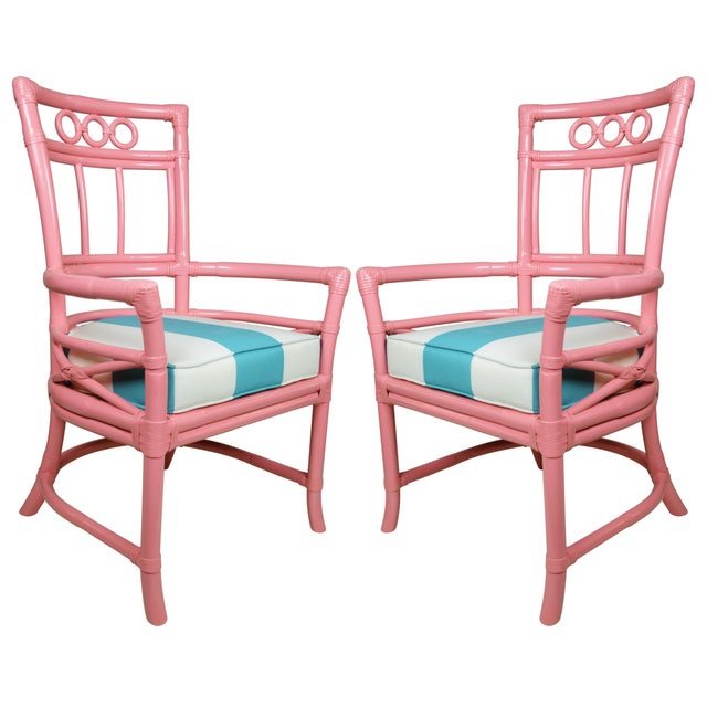 Ficks Reed Colony Pink Rattan Armchairs - a Pair - Image 1 of 7