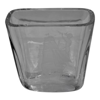 "1940s Swedish Etched Crystal Vase ""Sale-Away Ship Motif"" Signed by the Artist For Sale"