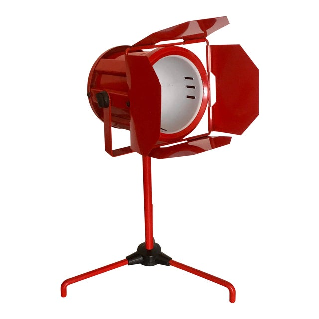 Mid Century Red Tripod Spotlight Lamp For Sale