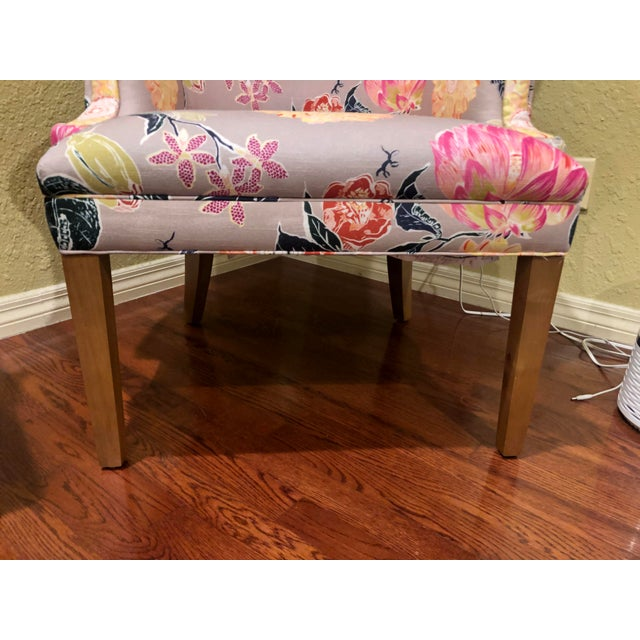 Traditional Modern Anthropologie Lotus Blossom Wingback Chair For Sale - Image 3 of 11