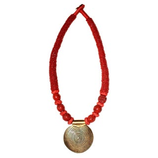1970s Coral Bead and Brass Pendant Necklace For Sale