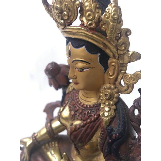 Metal Buddhist Tara Goddess Of Cast Brass For Sale - Image 7 of 11