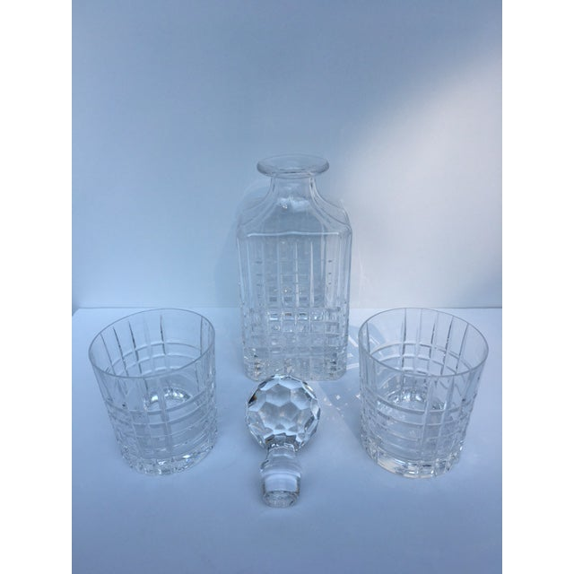 Traditional Tiffany & Co. Plaid Decanter & Old Fashion Glasses - Set of 3 For Sale - Image 3 of 8