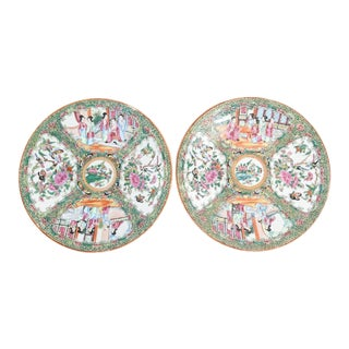 19th Century Rose Medallion Chargers - a Pair For Sale