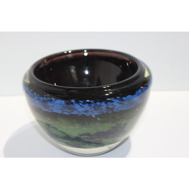 1980s Vintage Murano Massimiliano Schiavon Thick Glass Artisan Bowl Signed Gaio 81 For Sale - Image 5 of 13