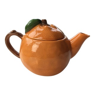 Vintage Orange Shaped Teapot For Sale