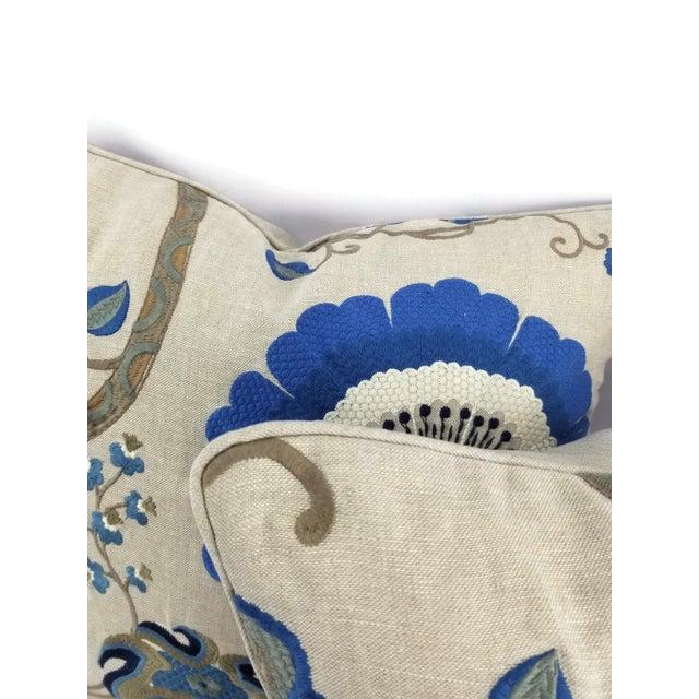 "Modern Manuel Canovas Bordeaux Ciel Blue & Light Tan Linen with Self-Welt Pillow Cover - 20"" X 20"" For Sale - Image 3 of 6"