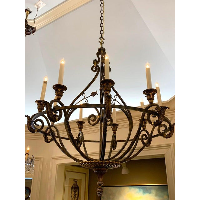 Neoclassical Neoclassical Wrought Iron & Brass Orb 8-Light Chandelier, by Maitland Smith For Sale - Image 3 of 7