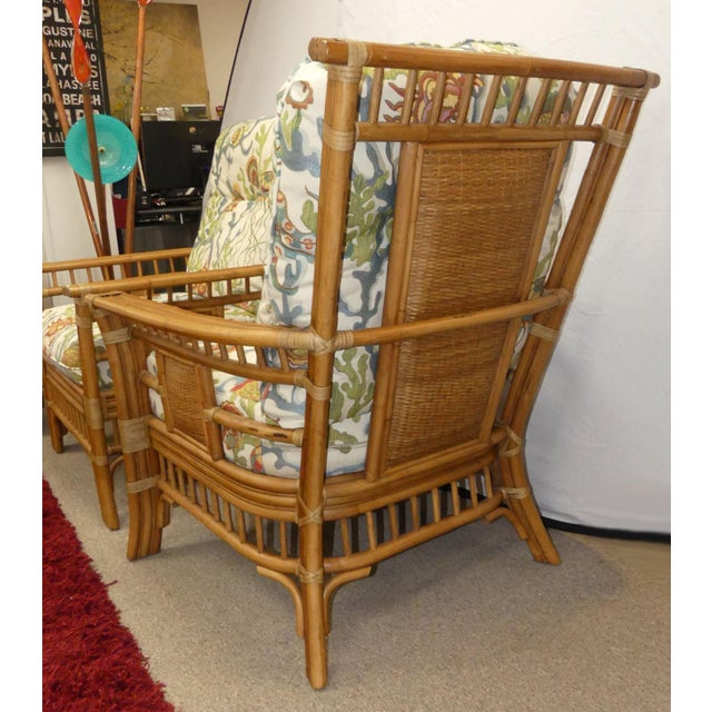 2000 - 2009 Coastal Creations Rattan Armchairs With High-End Embroidered Crewel Cushions- a Pair For Sale - Image 5 of 11