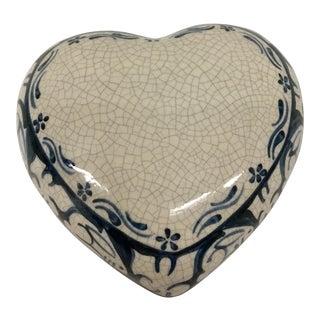 Artisan Crackle Heart Bunny Trinket Box