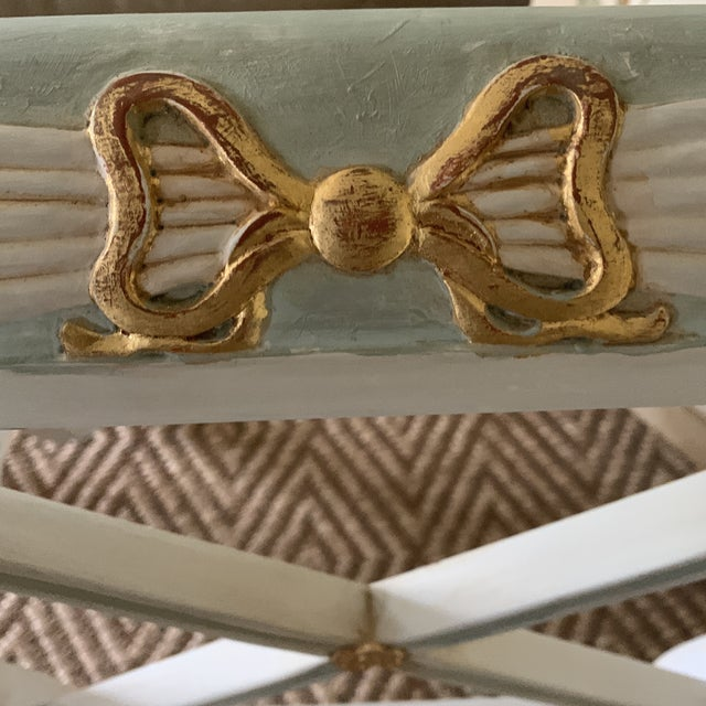 Swedish Blue and Gold Regency Style Cane Benches - a Pair For Sale In New York - Image 6 of 9