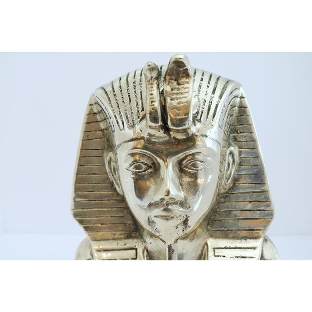 Vintage Brass King Tut Pharaoh Statue For Sale - Image 4 of 10