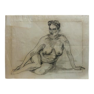 "1953 Vintage ""Black Woman Nude"" Tom Sturges Jr. Drawing For Sale"