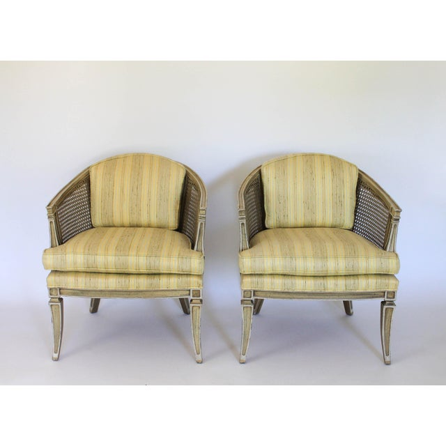 Caned Barrel Chairs - A Pair - Image 2 of 11