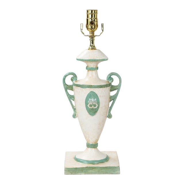 Vintage Urn Lamp in White With Green Cypher of Dutches & Duke of Windsor For Sale