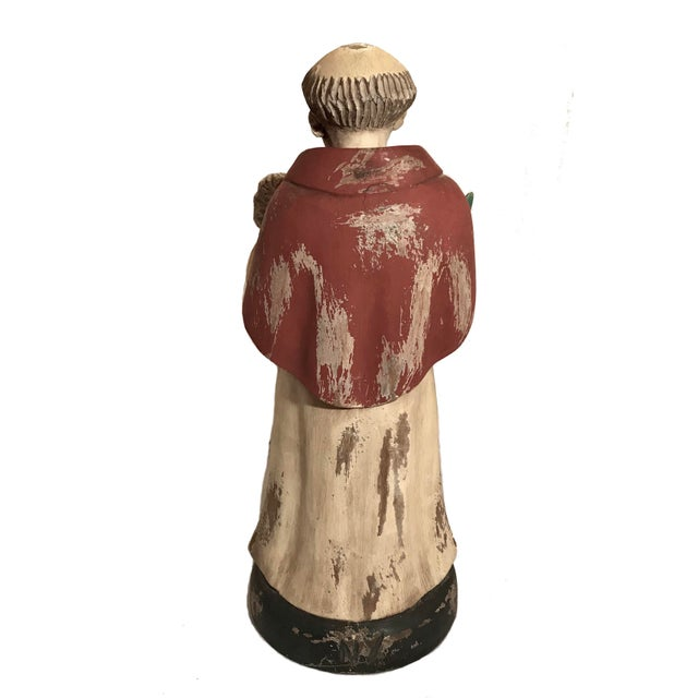 Spanish Vintage Hand Carved Wooden Saint Anthony Sculpture For Sale - Image 3 of 7