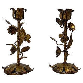 Italian Tole Candle Holders - A Pair
